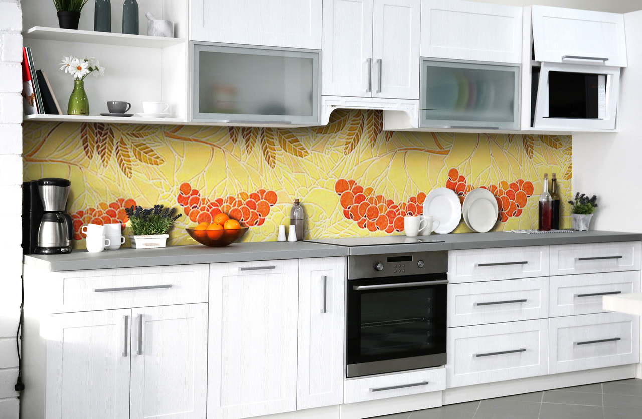 Скинали на кухню Zatarga «Пламя рябин» 600х3000 мм виниловая 3Д наклейка кухонный фартук самоклеящаяся