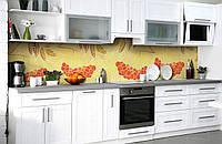 Скинали на кухню Zatarga «Пламя рябин» 600х3000 мм виниловая 3Д наклейка кухонный фартук самоклеящаяся, фото 1