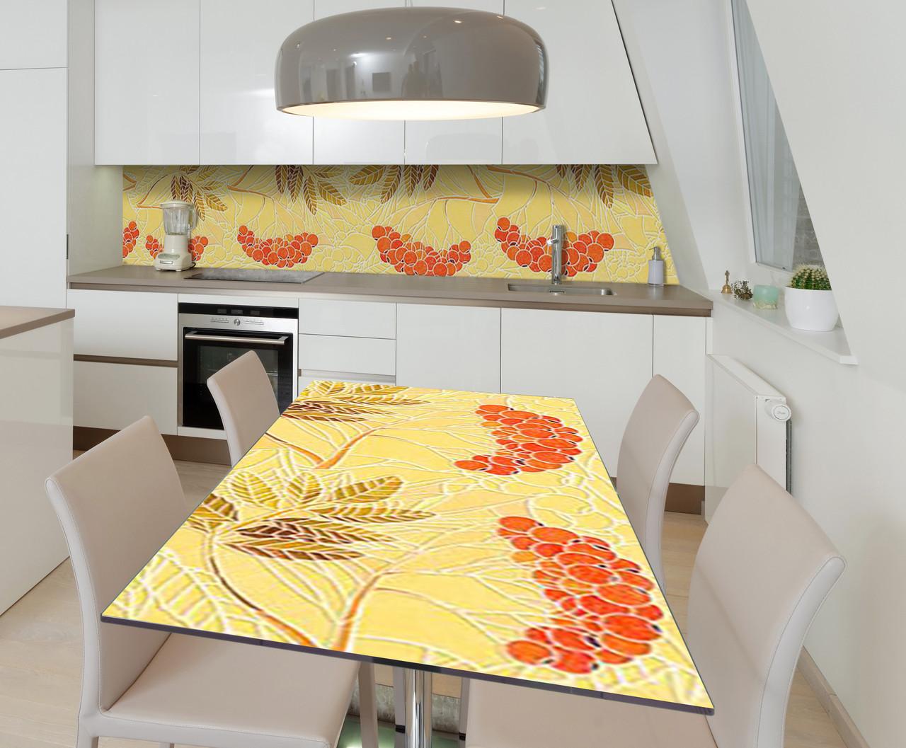 Наклейка 3Д виниловая на стол Zatarga «Пламя рябин» 600х1200 мм для домов, квартир, столов, кофейн, кафе