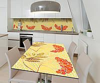 Наклейка 3Д виниловая на стол Zatarga «Пламя рябин» 600х1200 мм для домов, квартир, столов, кофейн, кафе, фото 1