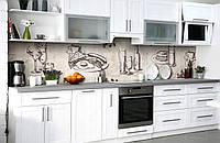 Скинали на кухню Zatarga «Английский фуршет» 650х2500 мм виниловая 3Д наклейка кухонный фартук самоклеящаяся, фото 1