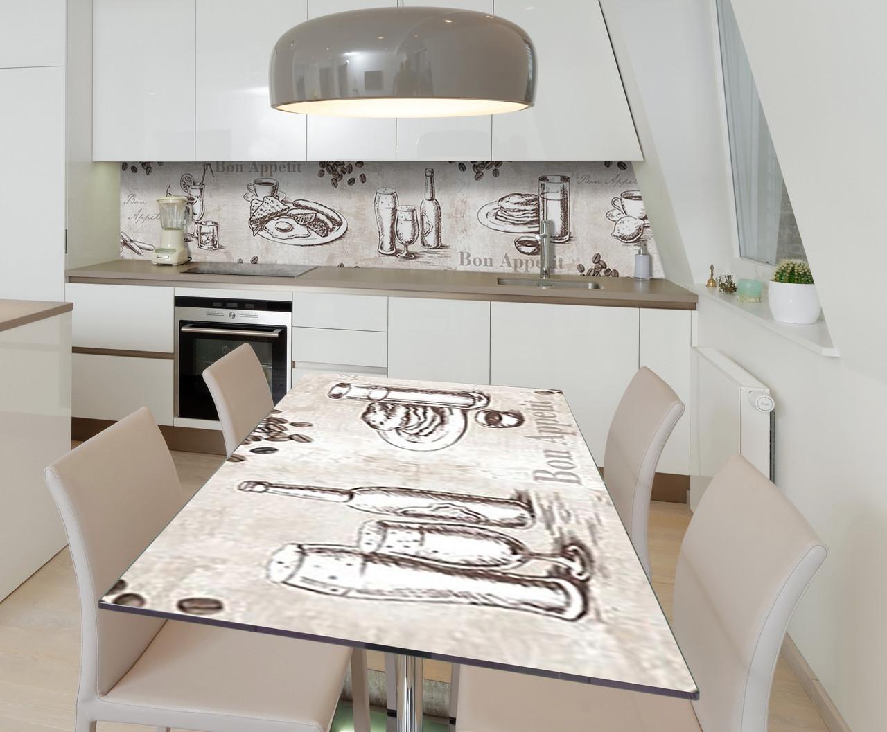 Наклейка 3Д виниловая на стол Zatarga «Английский фуршет» 650х1200 мм для домов, квартир, столов, кофейн, кафе