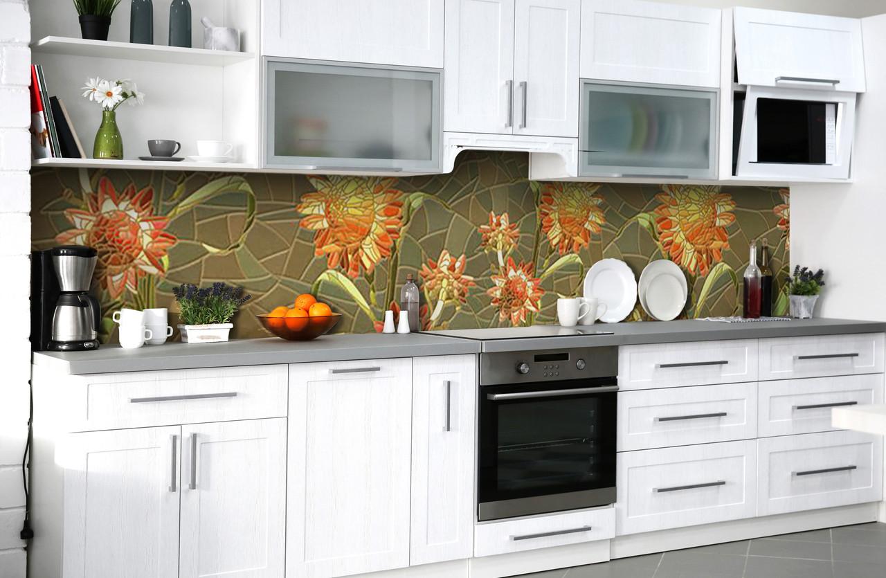 Скинали на кухню Zatarga «Солнечное панно» 650х2500 мм виниловая 3Д наклейка кухонный фартук самоклеящаяся