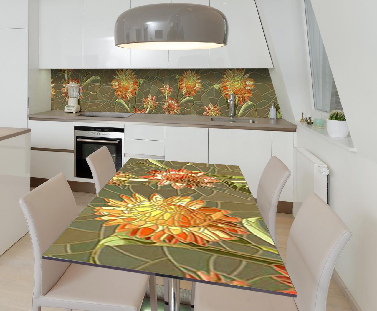 Наклейка 3Д виниловая на стол Zatarga «Солнечное панно» 600х1200 мм для домов, квартир, столов, кофейн, кафе