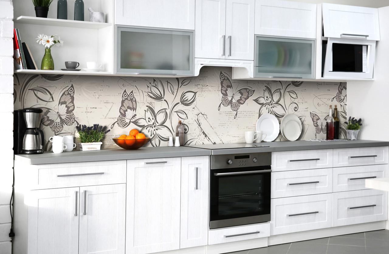 Скинали на кухню Zatarga «Порхающее счастье» 600х3000 мм виниловая 3Д наклейка кухонный фартук самоклеящаяся