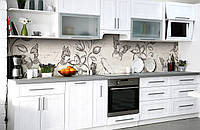 Скинали на кухню Zatarga «Порхающее счастье» 600х3000 мм виниловая 3Д наклейка кухонный фартук самоклеящаяся, фото 1