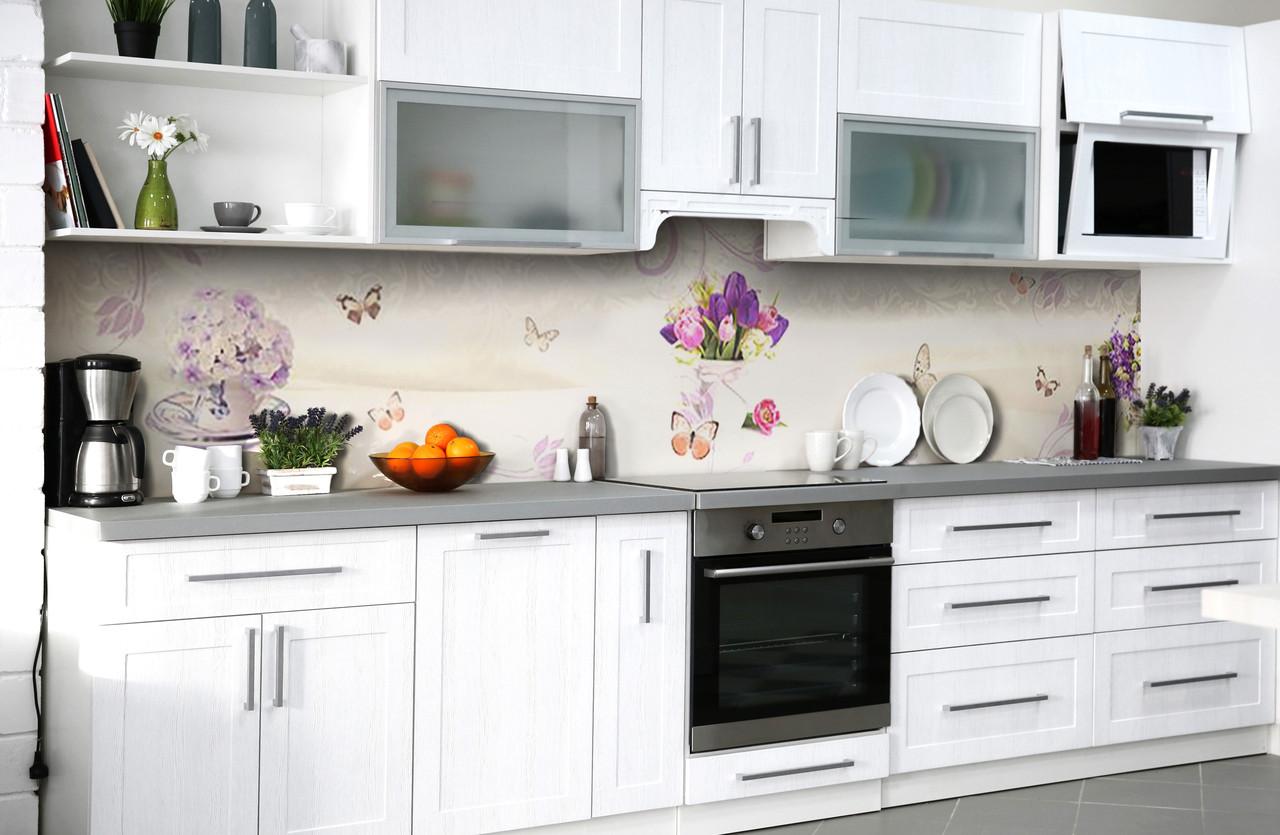 Скинали на кухню Zatarga «Букеты любви» 600х2500 мм виниловая 3Д наклейка кухонный фартук самоклеящаяся