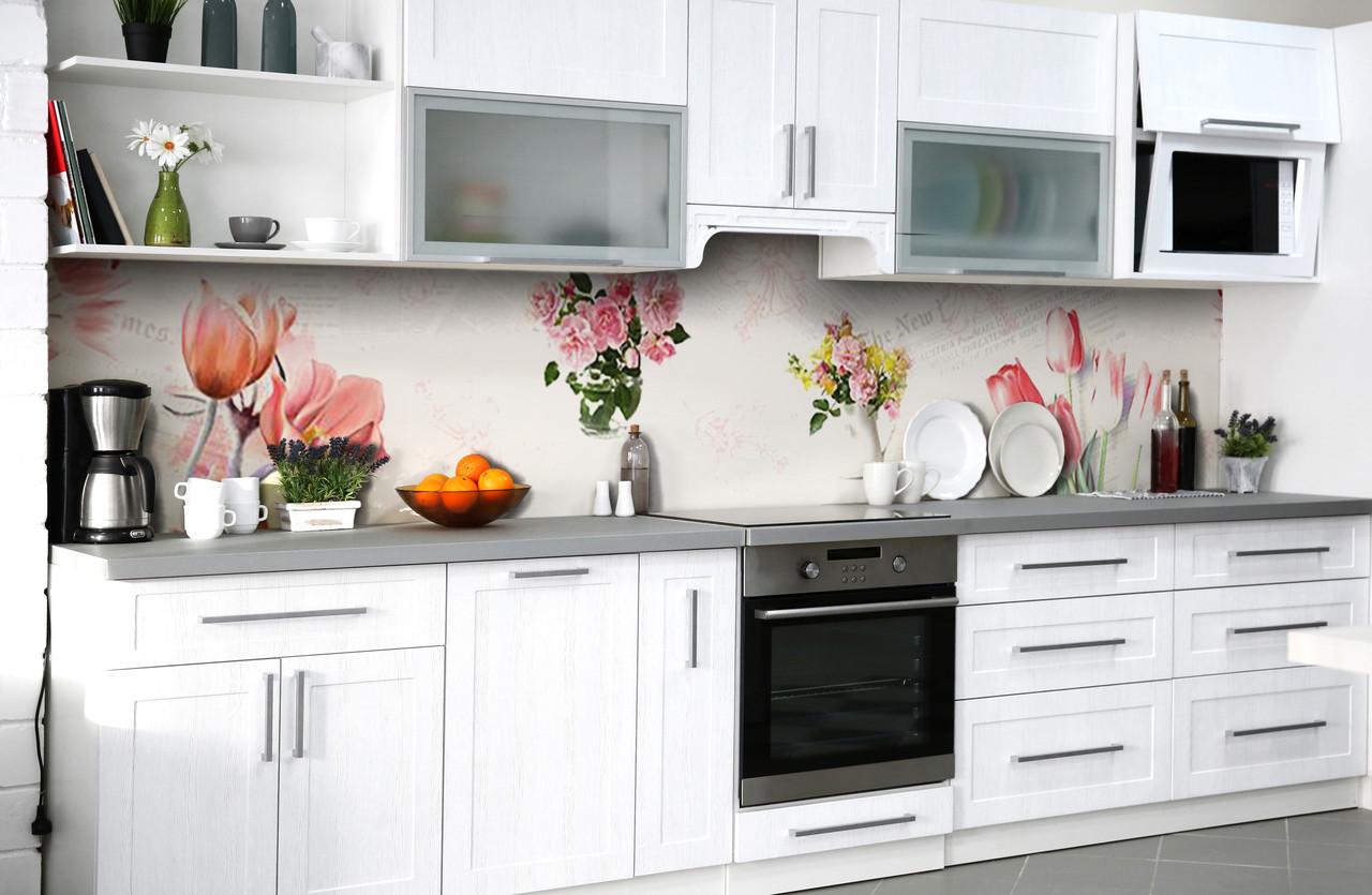 Скинали на кухню Zatarga «Цветочный бал» 600х2500 мм виниловая 3Д наклейка кухонный фартук самоклеящаяся