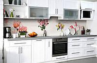 Скинали на кухню Zatarga «Цветочный бал» 600х2500 мм виниловая 3Д наклейка кухонный фартук самоклеящаяся, фото 1