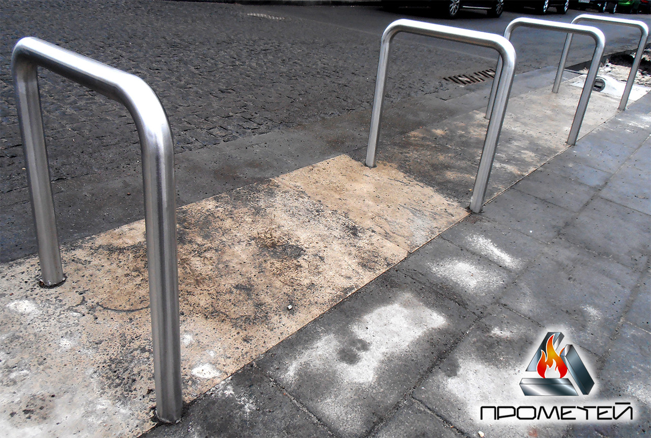 """Велопарковки велосипедные стационарные """"Сатин"""" из нержавеющей стали, с отдельно стоящими секциями"""