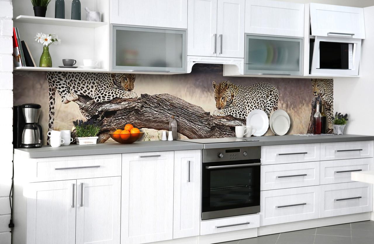 Скинали на кухню Zatarga «Пятнистое сафари» 650х2500 мм виниловая 3Д наклейка кухонный фартук самоклеящаяся