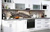 Скинали на кухню Zatarga «Пятнистое сафари» 650х2500 мм виниловая 3Д наклейка кухонный фартук самоклеящаяся, фото 1