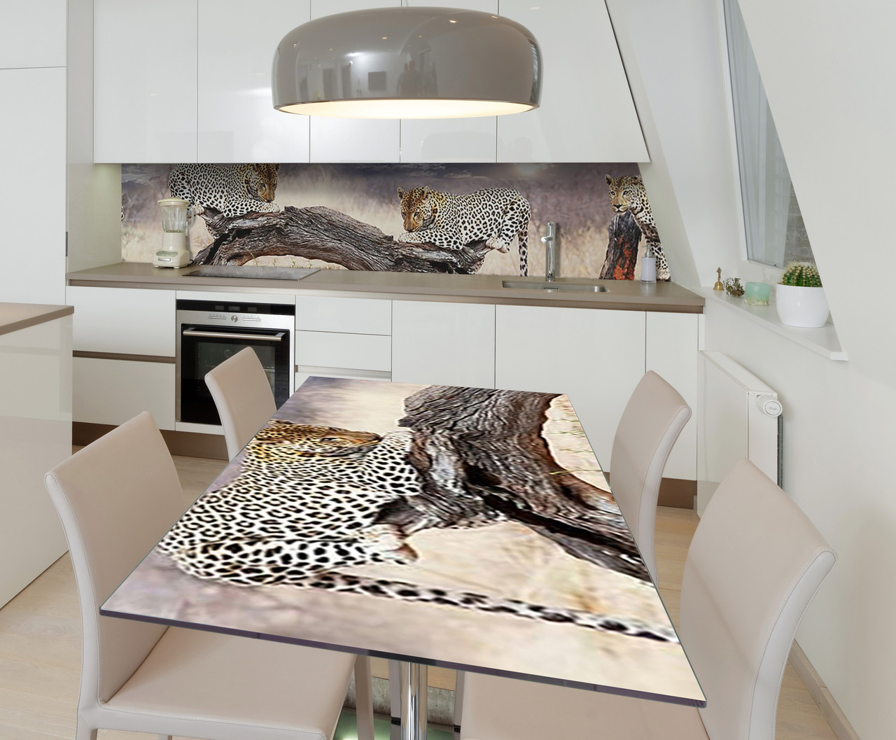 Наклейка 3Д виниловая на стол Zatarga «Пятнистое сафари» 600х1200 мм для домов, квартир, столов, кофейн, кафе
