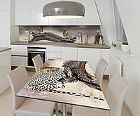 Наклейка 3Д виниловая на стол Zatarga «Пятнистое сафари» 600х1200 мм для домов, квартир, столов, кофейн, кафе, фото 1