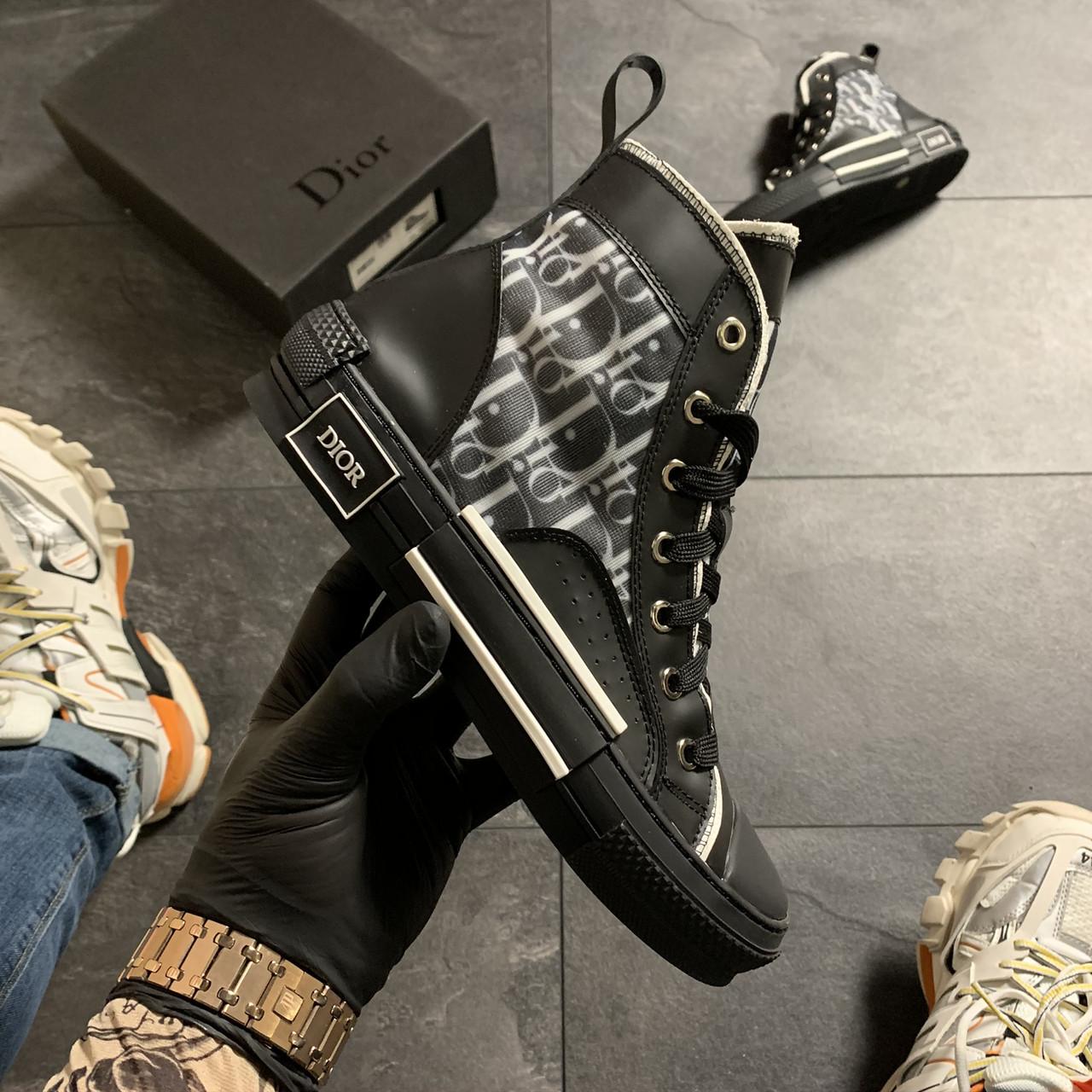 Женские кроссовки Dior B23 High-Top Sneakers Black, женские кроссовки диор б23 хайтоп