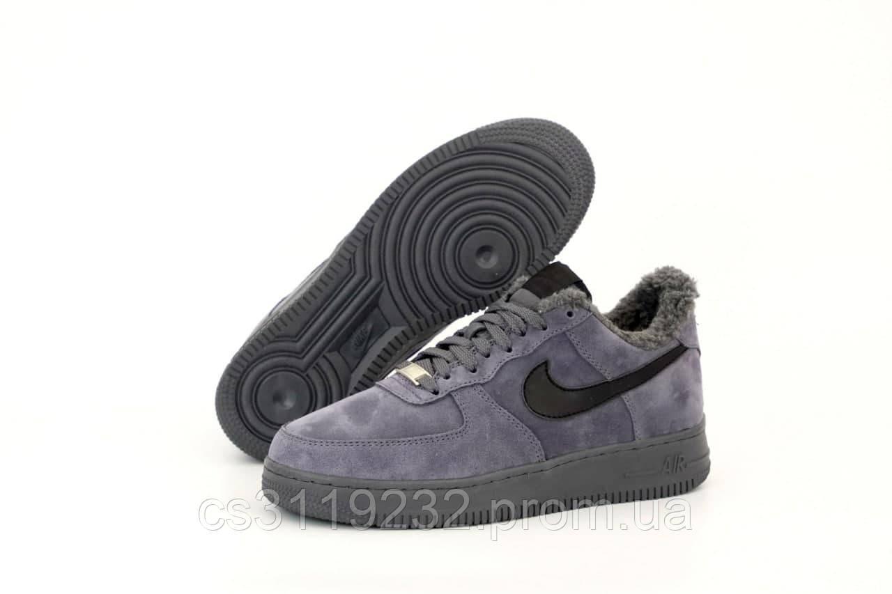 Мужские кроссовки зимние Nike Air Force (мех) (серые)