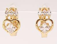 """Серьги M&L желтый оттенок колечки """"Сердечко с кристальной короной"""", фото 1"""