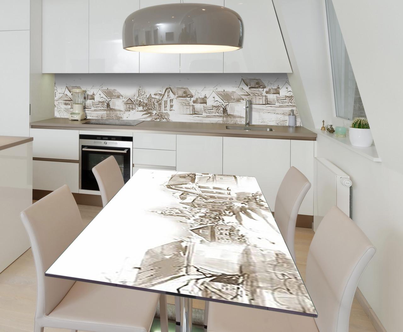 Наклейка 3Д виниловая на стол Zatarga «Городские окраины» 600х1200 мм для домов, квартир, столов, кофейн, кафе