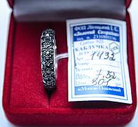 Обручальное серебряное кольцо с черным цирконом 16.5 размер родированое