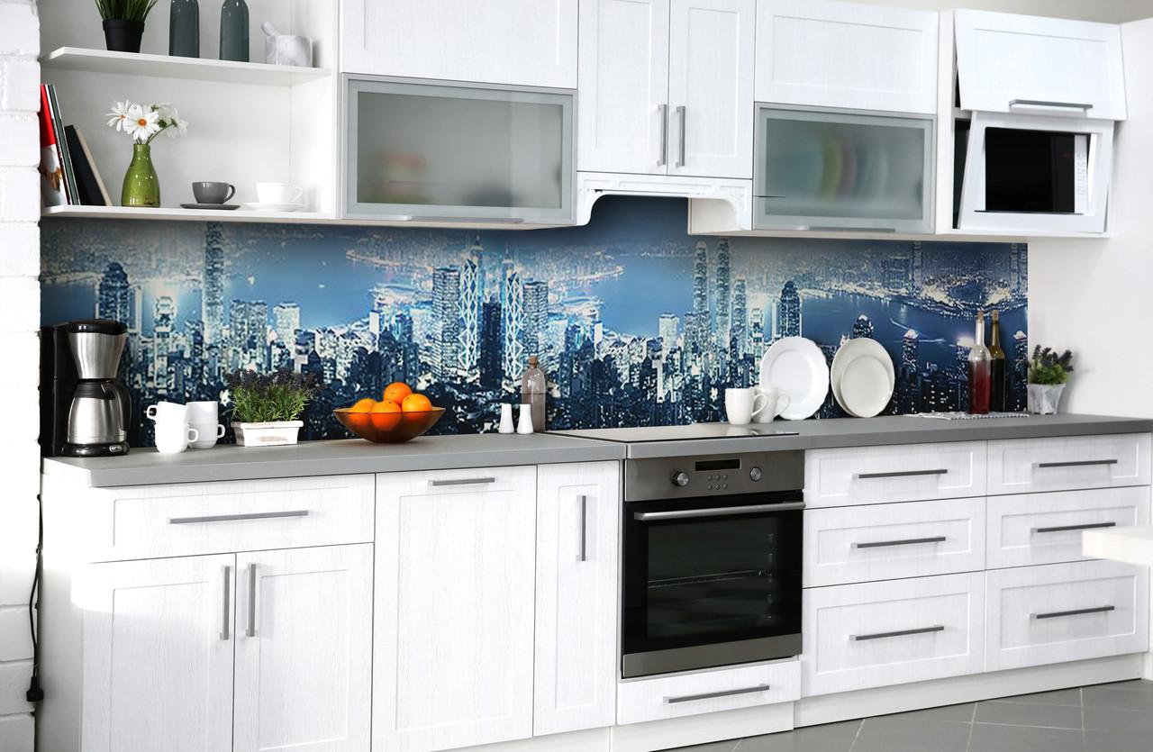 Скинали на кухню Zatarga «Фантазии мегаполиса» 650х2500 мм виниловая 3Д наклейка кухонный фартук самоклеящаяся