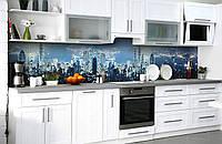 Скинали на кухню Zatarga «Фантазии мегаполиса» 650х2500 мм виниловая 3Д наклейка кухонный фартук самоклеящаяся, фото 1