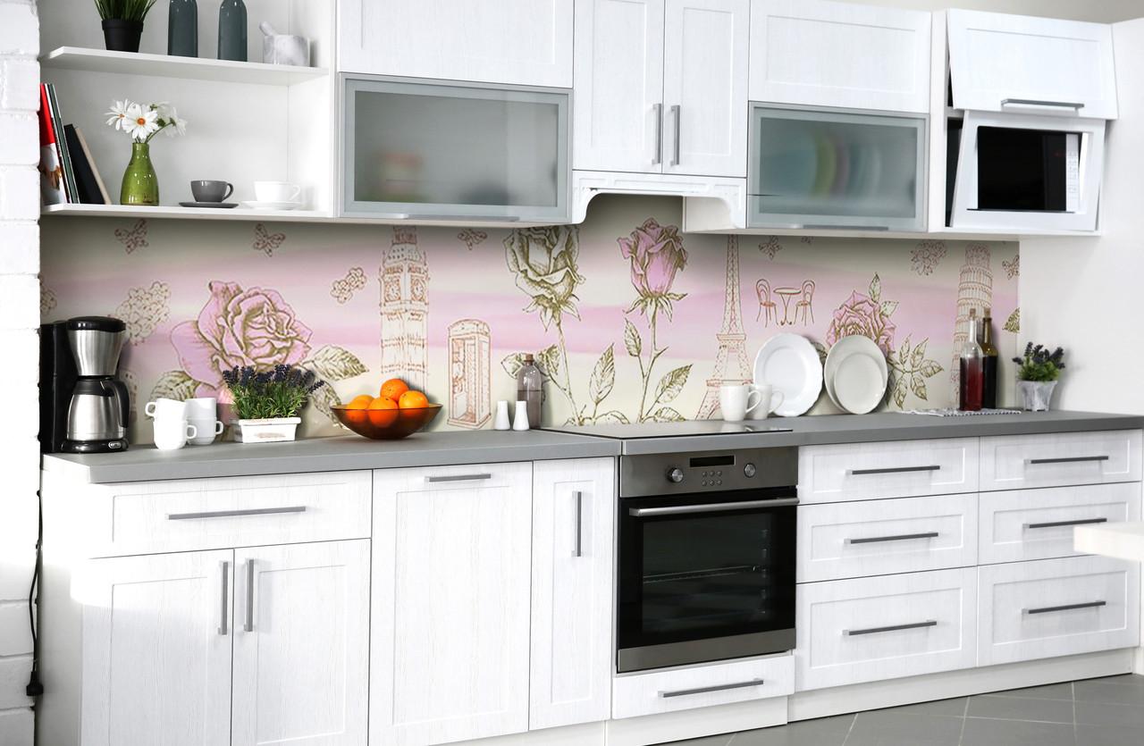 Скинали на кухню Zatarga «Европейское путешествие» 600х3000 мм виниловая 3Д наклейка кухонный фартук