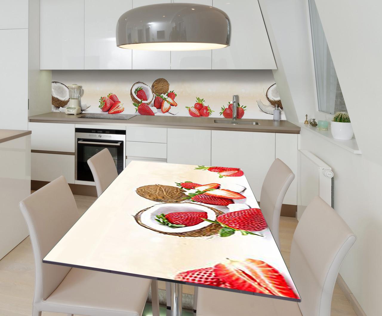 Наклейка 3Д виниловая на стол Zatarga «Клубночно-кокосовый шик» 600х1200 мм для домов, квартир, столов,