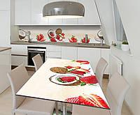 Наклейка 3Д виниловая на стол Zatarga «Клубночно-кокосовый шик» 600х1200 мм для домов, квартир, столов,, фото 1