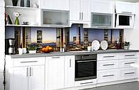Скинали на кухню Zatarga «Небоскрёб на ладодни» 600х2500 мм виниловая 3Д наклейка кухонный фартук, фото 1