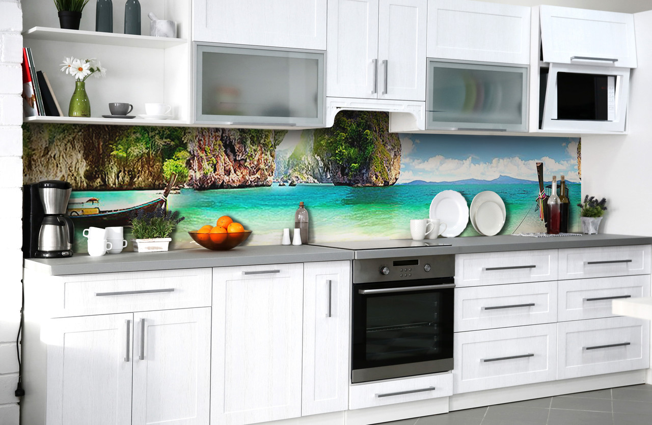 Скинали на кухню Zatarga «Манящий Тайланд» 600х3000 мм виниловая 3Д наклейка кухонный фартук самоклеящаяся