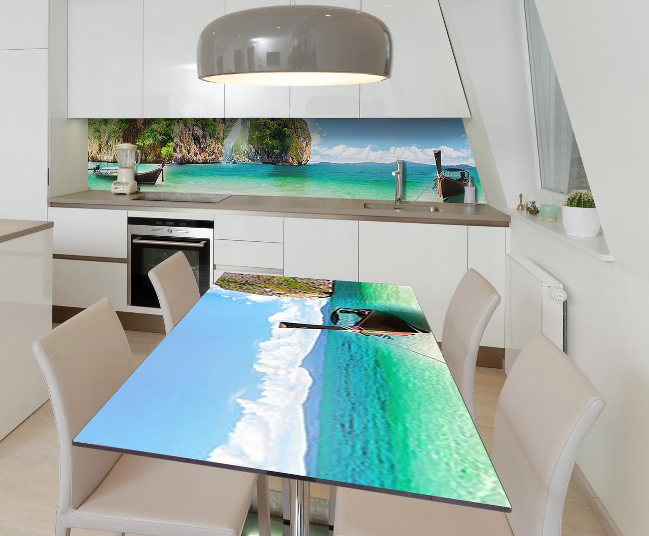 Наклейка 3Д виниловая на стол Zatarga «Манящий Тайланд» 600х1200 мм для домов, квартир, столов, кофейн, кафе