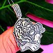Срібний кулон Цар Лев - Чоловічий кулон Лев срібло, фото 5