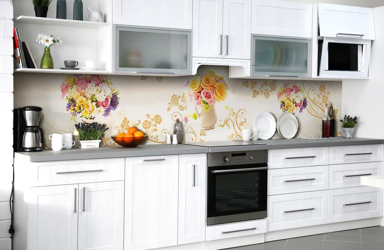 Скинали на кухню Zatarga «Утренний букет» 600х3000 мм виниловая 3Д наклейка кухонный фартук самоклеящаяся