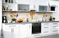Скинали на кухню Zatarga «Утренний букет» 600х3000 мм виниловая 3Д наклейка кухонный фартук самоклеящаяся, фото 1