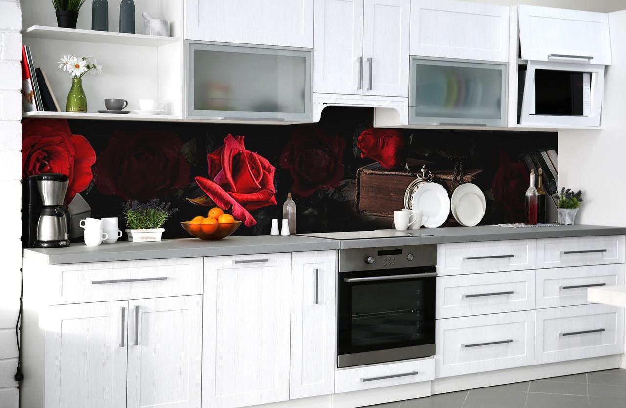 Скинали на кухню Zatarga «Тайна красной розы» 600х3000 мм виниловая 3Д наклейка кухонный фартук самоклеящаяся