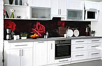 Скинали на кухню Zatarga «Тайна красной розы» 600х3000 мм виниловая 3Д наклейка кухонный фартук самоклеящаяся, фото 1