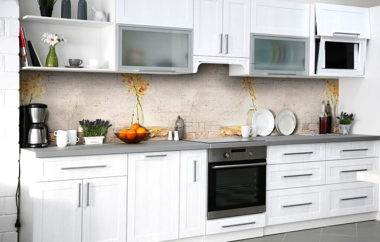 Скинали на кухню Zatarga «В'яне охра» 600х2500 мм вінілова 3Д Наліпка кухонний фартух самоклеюча