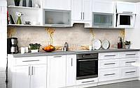 Скинали на кухню Zatarga «В'яне охра» 600х2500 мм вінілова 3Д Наліпка кухонний фартух самоклеюча, фото 1