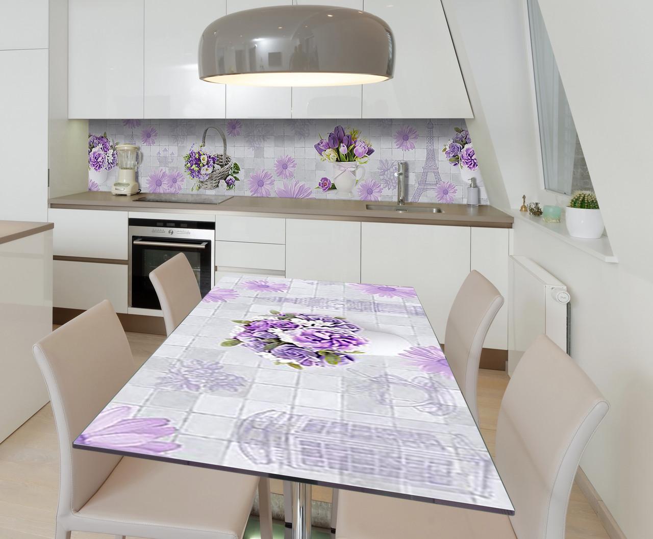 Наклейка 3Д виниловая на стол Zatarga «Лиловое путешествие» 600х1200 мм для домов, квартир, столов, кофейн,