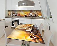 Наклейка 3Д виниловая на стол Zatarga «Завтрак в постель» 600х1200 мм для домов, квартир, столов, кофейн, кафе