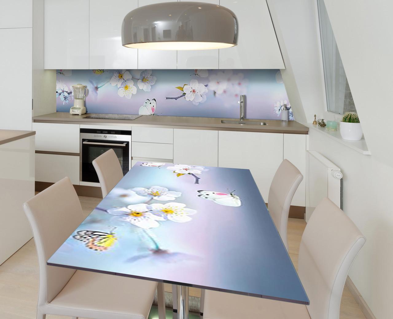 Наліпка 3Д вінілова на стіл Zatarga «Пурхають у вишнях» 650х1200 мм для будинків, квартир, столів, кофеєнь,