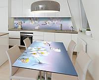 Наліпка 3Д вінілова на стіл Zatarga «Пурхають у вишнях» 650х1200 мм для будинків, квартир, столів, кофеєнь,, фото 1