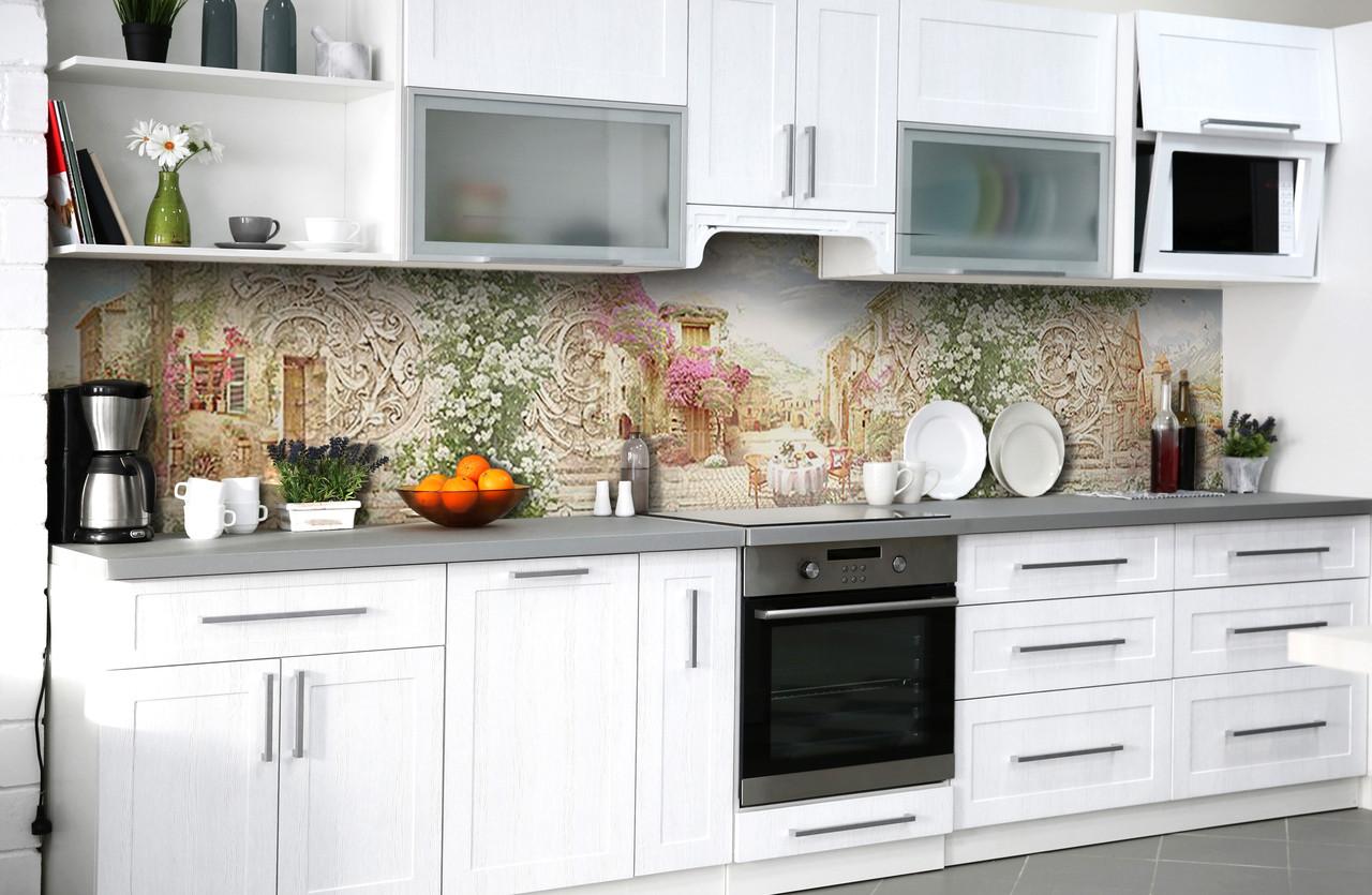 Скинали на кухню Zatarga «В сердце Европы» 600х2500 мм виниловая 3Д наклейка кухонный фартук самоклеящаяся