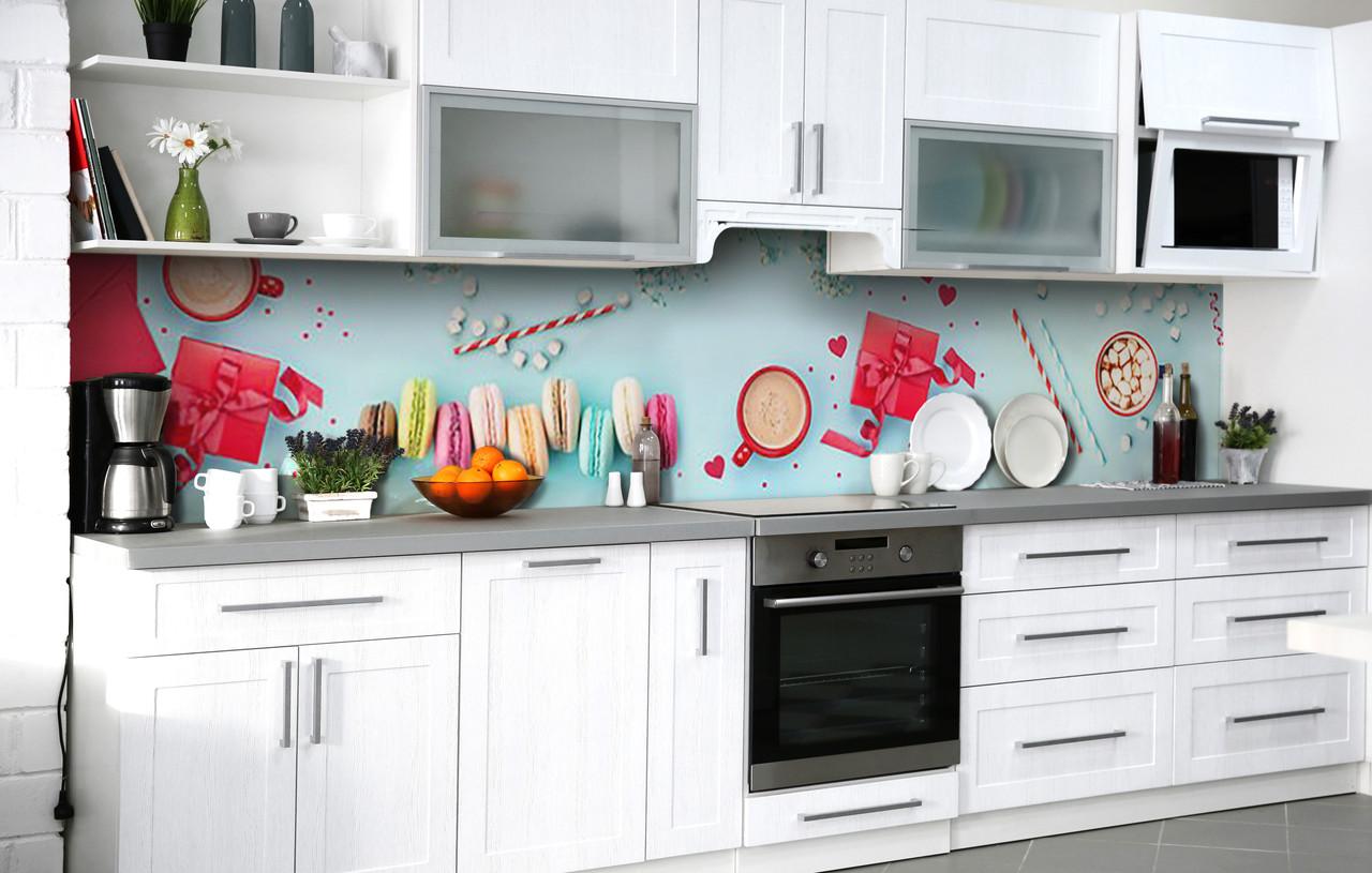 Скинали на кухню Zatarga «Какао с зефиром» 600х2500 мм виниловая 3Д наклейка кухонный фартук самоклеящаяся