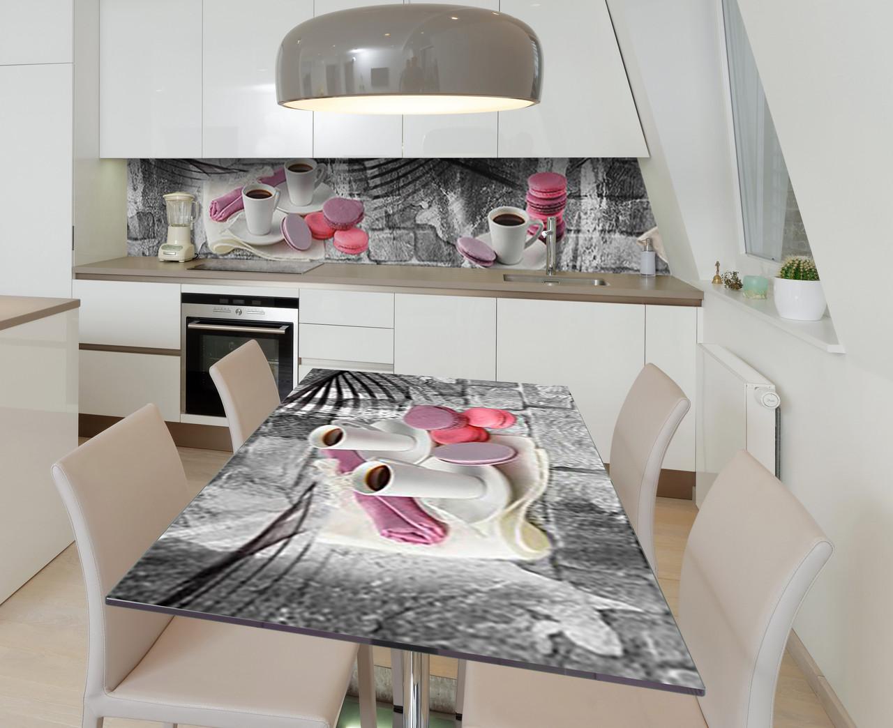 Наліпка 3Д вінілова на стіл Zatarga «Сніданок подано» 650х1200 мм для будинків, квартир, столів, кофеєнь,