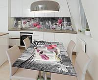 Наклейка 3Д виниловая на стол Zatarga «Завтрак подано» 650х1200 мм для домов, квартир, столов, кофейн, кафе, фото 1