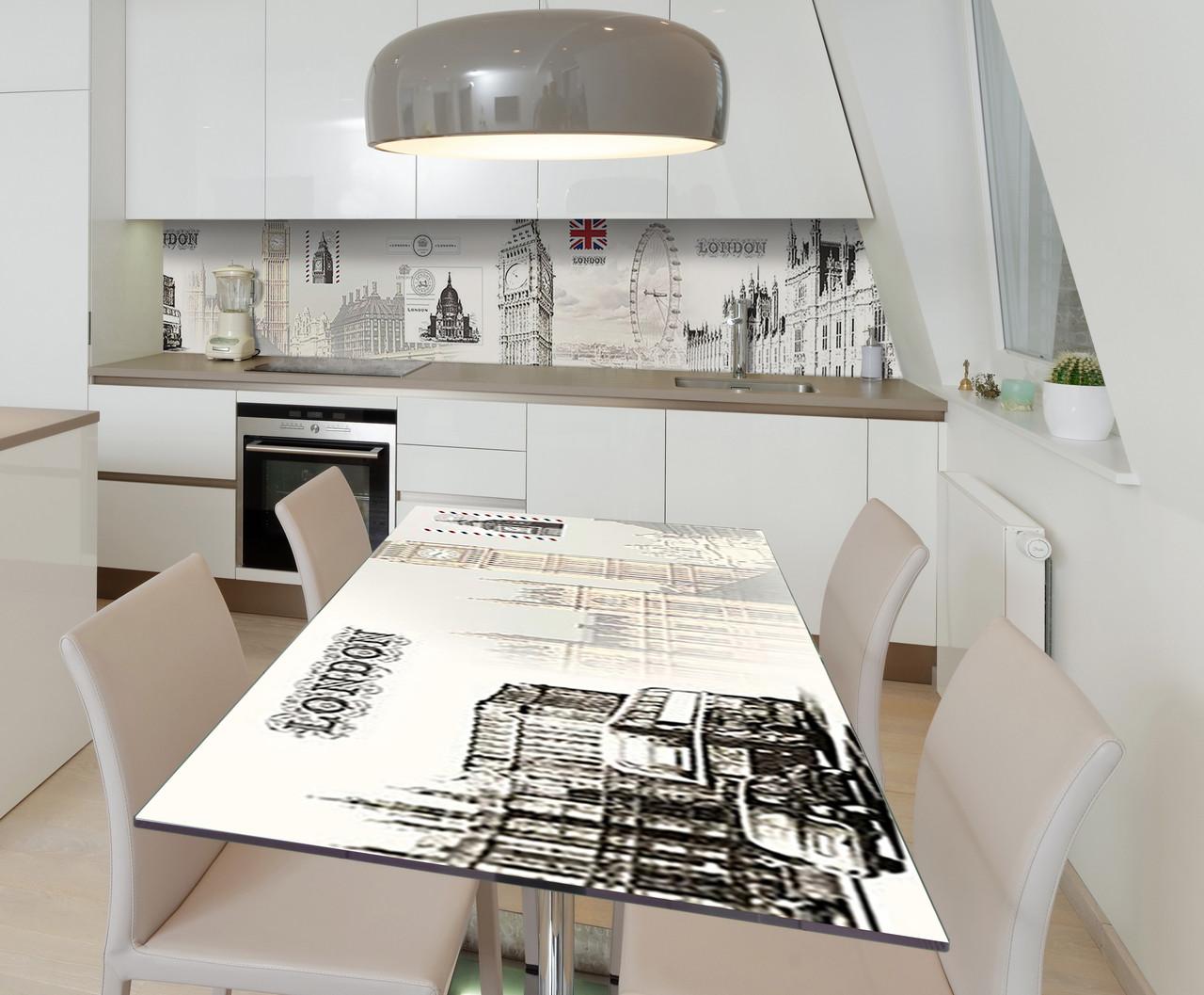 Наклейка 3Д виниловая на стол Zatarga «Лондонский сон» 650х1200 мм для домов, квартир, столов, кофейн, кафе