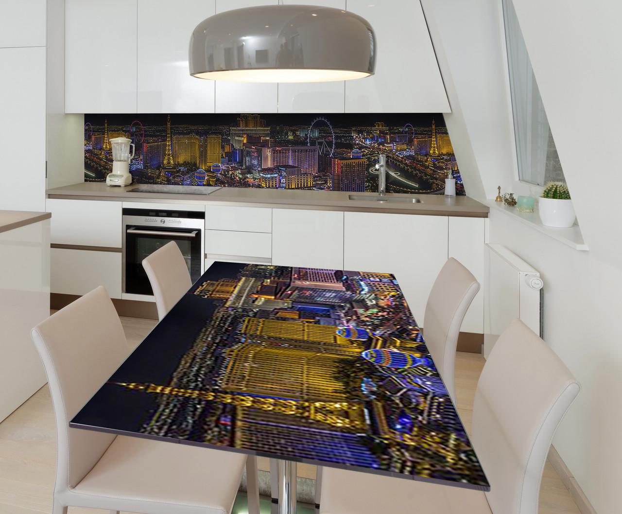 Наклейка 3Д виниловая на стол Zatarga «Шальной Вегас» 650х1200 мм для домов, квартир, столов, кофейн, кафе