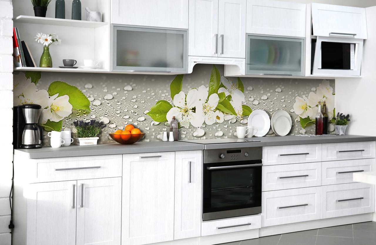 Скинали на кухню Zatarga «Вишнёвая роса» 600х2500 мм виниловая 3Д наклейка кухонный фартук самоклеящаяся