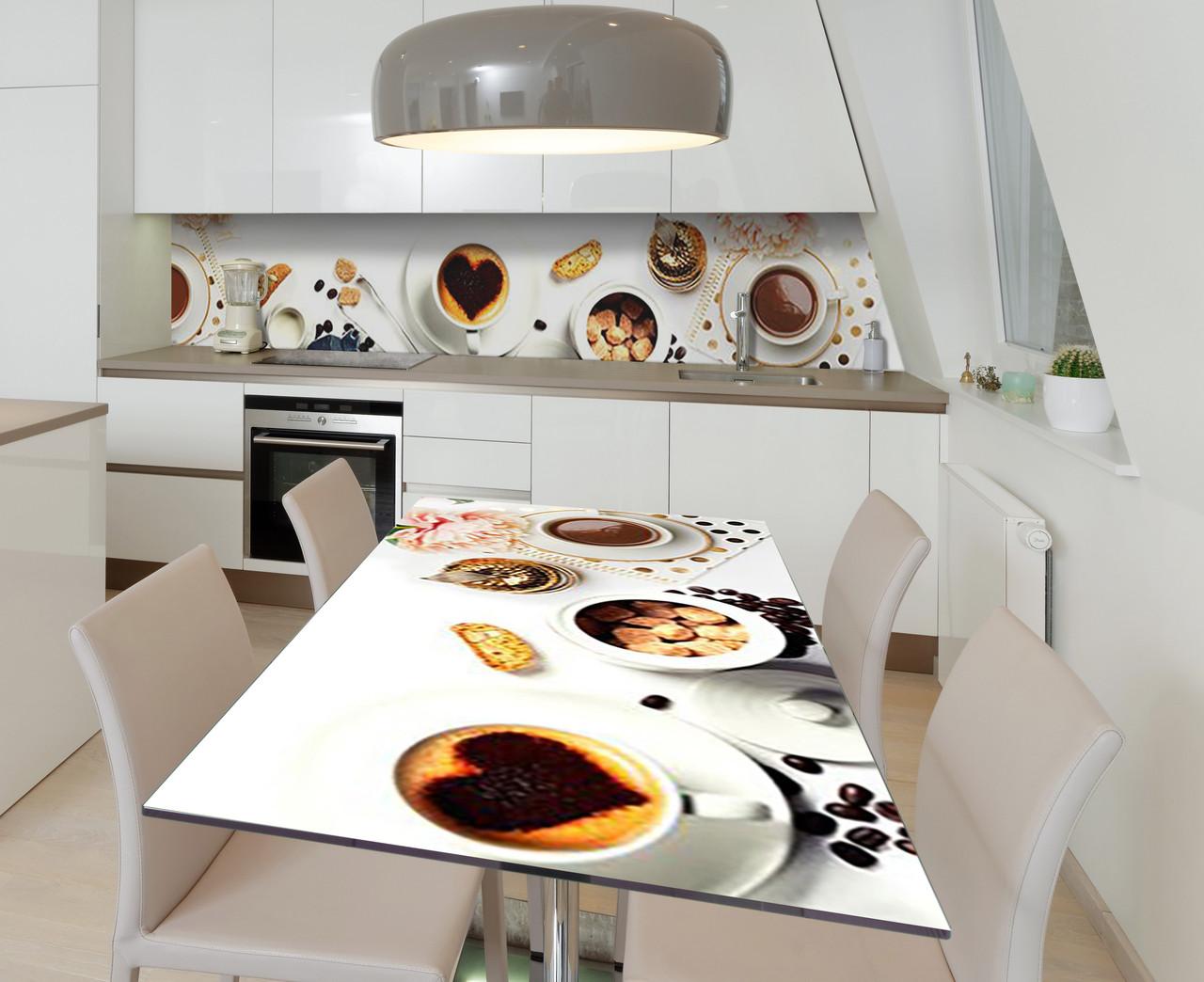 Наліпка 3Д вінілова на стіл Zatarga «Какао з тростинним цукром» 650х1200 мм для будинків, квартир, столів,
